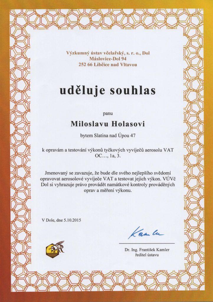 Souhlas k opravám a testování vyvíječů VAT
